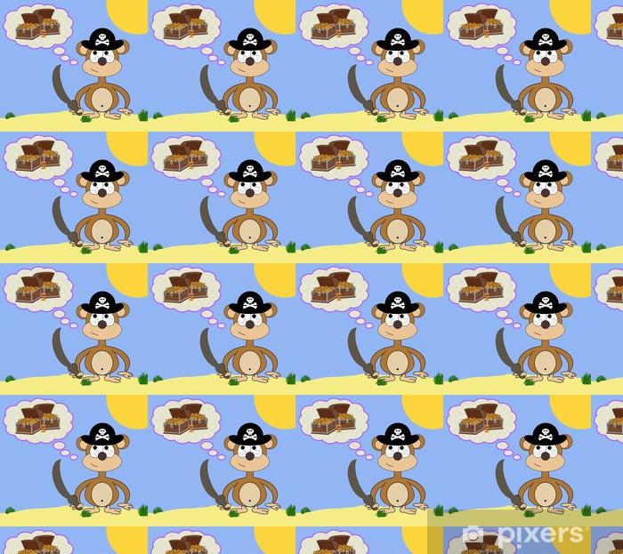 Tapeta na wymiar winylowa Greedy Pirate Monkey Cartoon Scena Sen - Przeznaczenia