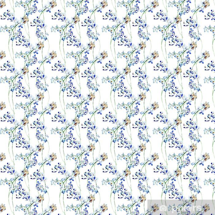 Tapeta na wymiar winylowa Jednolite wzór z Blue dzikich kwiatów - Rośliny i kwiaty