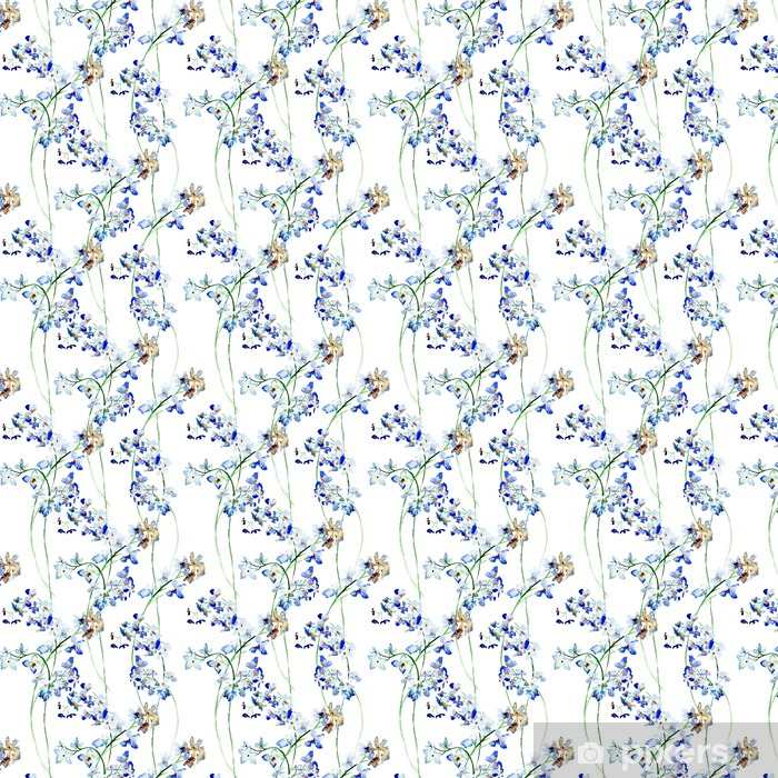 Seamless pattern with Blue wild flowers Vinyl custom-made wallpaper - Plants and Flowers