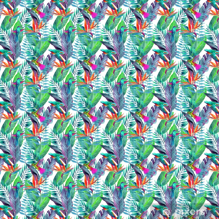 Tropical leaves seamless pattern. Floral design background. Vinyl custom-made wallpaper - Plants and Flowers