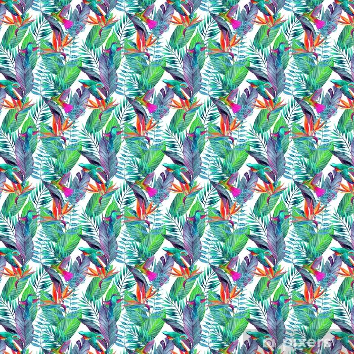 Zelfklevend behang, op maat gemaakt Tropische bladeren naadloze patroon. bloemdessin achtergrond. - Bloemen en Planten
