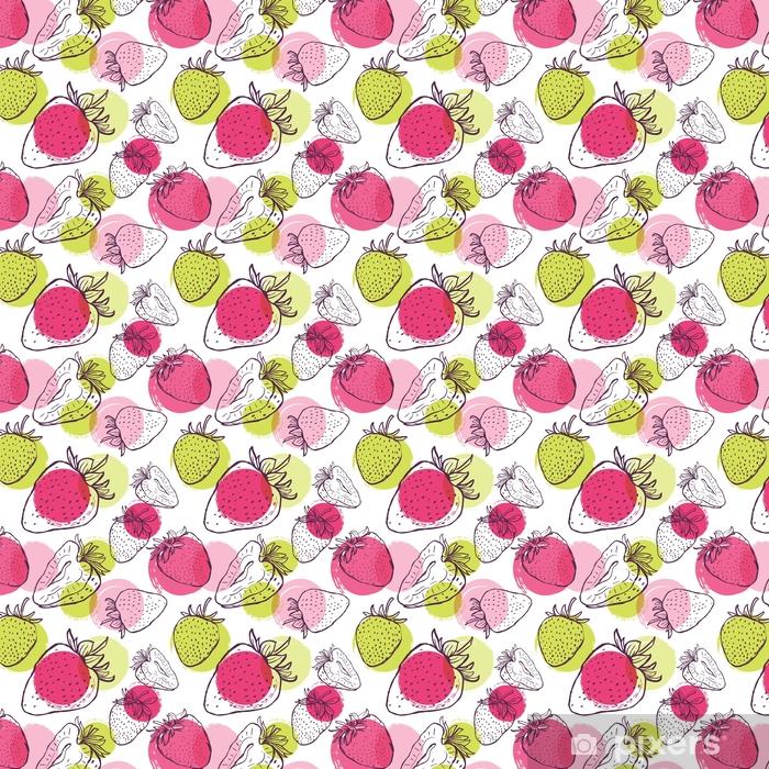 Vektori saumaton malli mansikoilla ja värikkäillä vesiväreillä. käsi piirtää taustalla mustavalkoisia lineaarisia marjoja. suunnittelu kangasta, tekstiilituloste, käärepaperi. Räätälöity vinyylitapetti - Ruoka