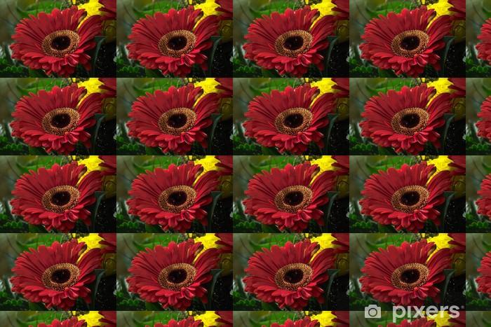 Papier peint vinyle sur mesure Gardénia rouge et rose jaune - Fleurs