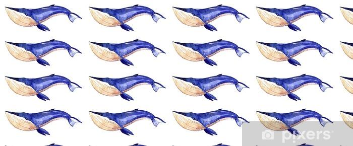 Vinylová tapeta na míru Akvarel velryba, ručně malované ilustrace na bílém pozadí - Zvířata
