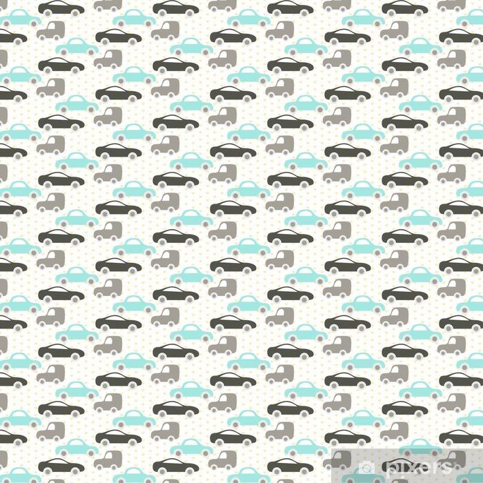 Papel pintado estándar a medida Coche del vector lindo bebé patrón transparente. Kid tela y el diseño de prendas de vestir. azul bebé y coches grises en el modelo del corazón. - Transportes