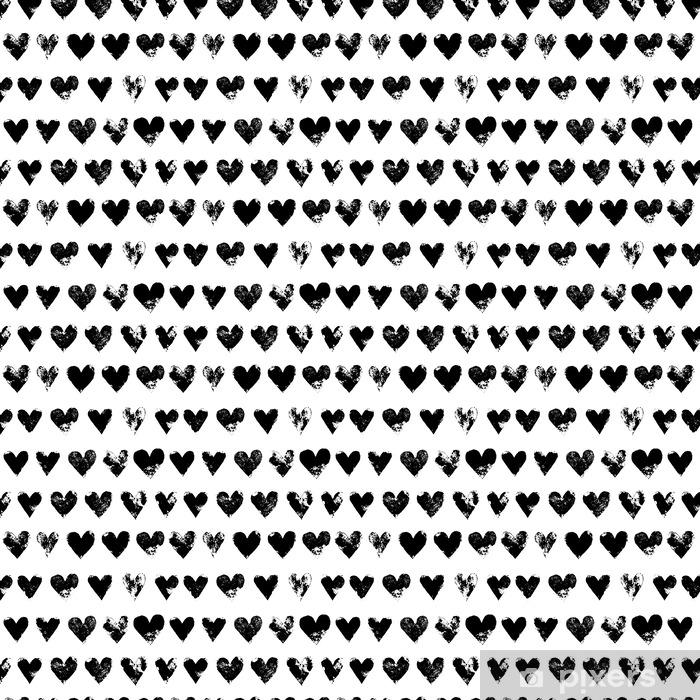Tapete Schwarz Weiß Grunge Herzen Nahtlose Muster Drucken Vektor