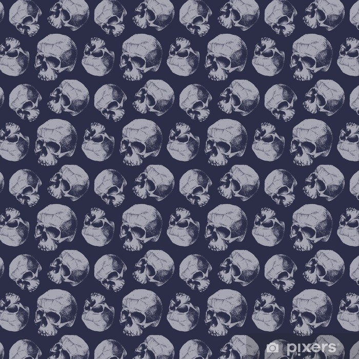 Grunge seamless pattern with skulls. Vinyl custom-made wallpaper - Graphic Resources
