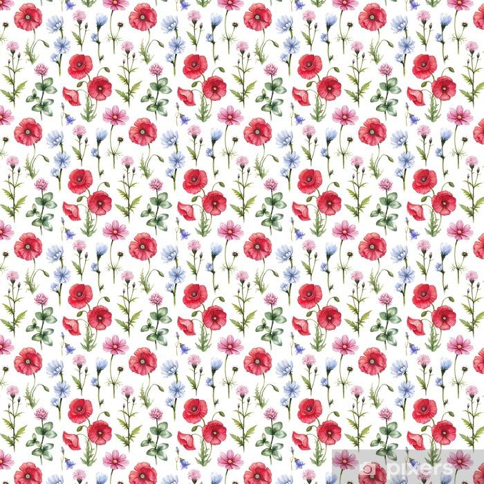 Papier peint vinyle sur mesure Fleurs sauvages illustrations. Aquarelle seamless - Plantes et fleurs