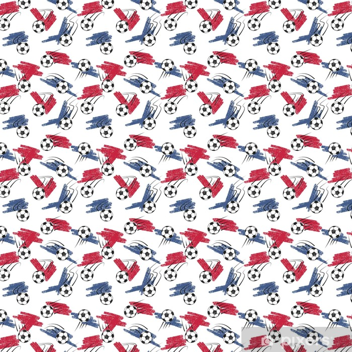 Soccer balls seamless pattern with balls and flag colors. Vector championship football background. Vinyl custom-made wallpaper - Sports