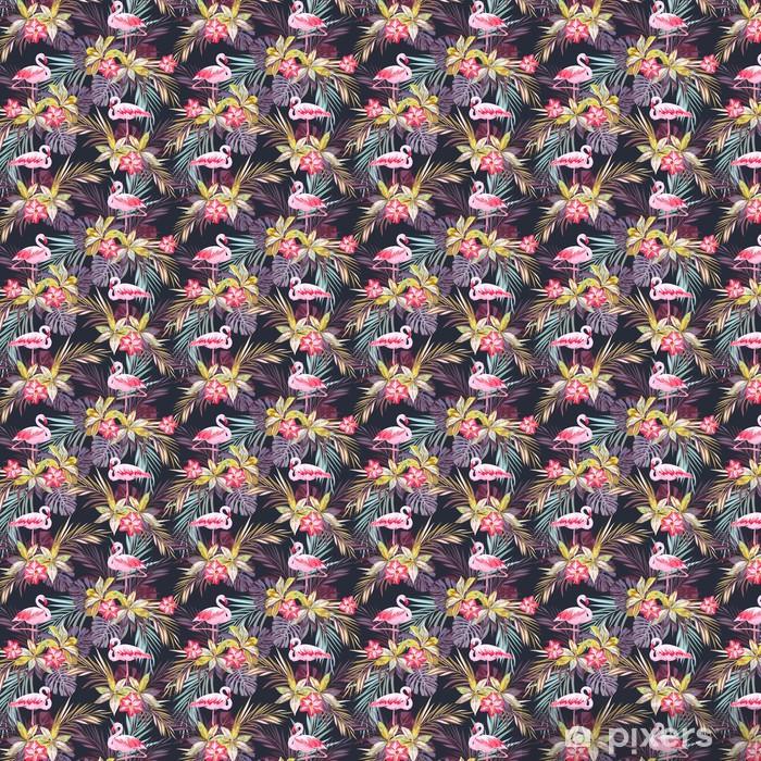 Trooppinen kesän saumaton malli flamingo linnuilla ja eksoottisilla kasveilla Räätälöity itsestäänkiinnittyvä tapetti -