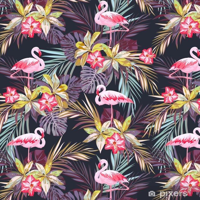 Trooppinen kesän saumaton malli flamingo linnuilla ja eksoottisilla kasveilla Itsestäänkiinnittyvä tapetti -