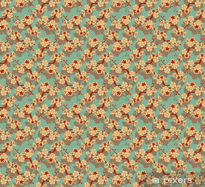 Tapeta na wymiar winylowa Japoński styl bez szwu dachówka z gałęzi wiśni i kwiatów wzór w kości słoniowej i niebieski i czerwony - Zasoby graficzne