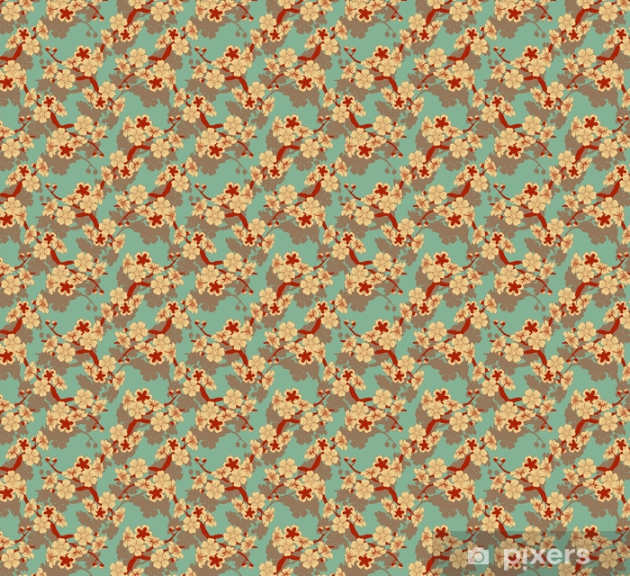 a Japanese style seamless tile with a cherry tree branch and flowers pattern in ivory and blue and red Vinyl custom-made wallpaper - Graphic Resources