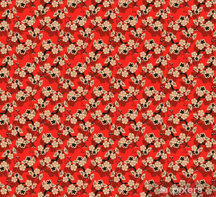 Tapeta na wymiar winylowa Japoński styl bez szwu dachówka z gałęzi wiśni i kwiatów wzór w kolorze czarnym, czerwonym i kości słoniowej - Zasoby graficzne