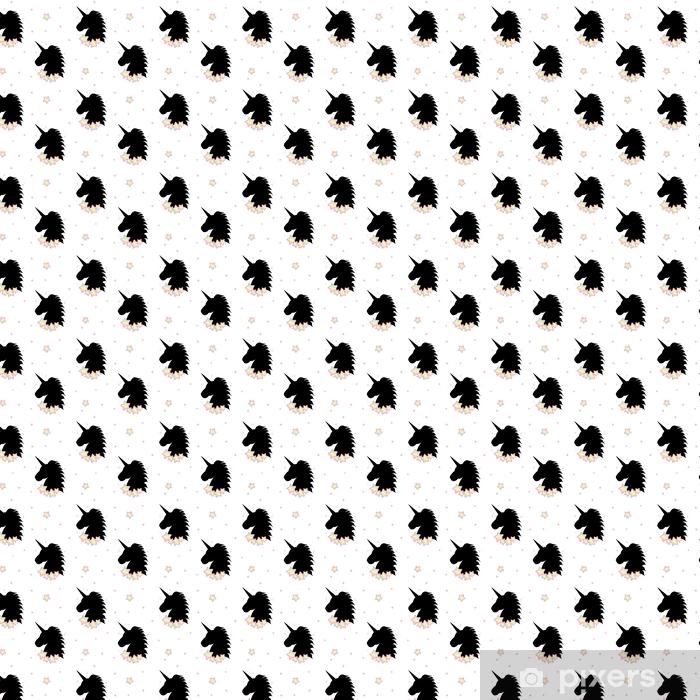 Kreskówka czarny jednorożec sylwetka z gwiazdami tęczy tło wzór ilustracja