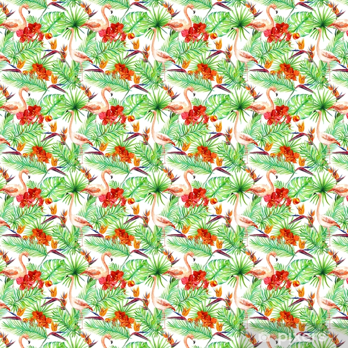 Flamingo, tropical leaves and exotic flowers. Seamless jungle pattern. Watercolor Vinyl custom-made wallpaper - Animals