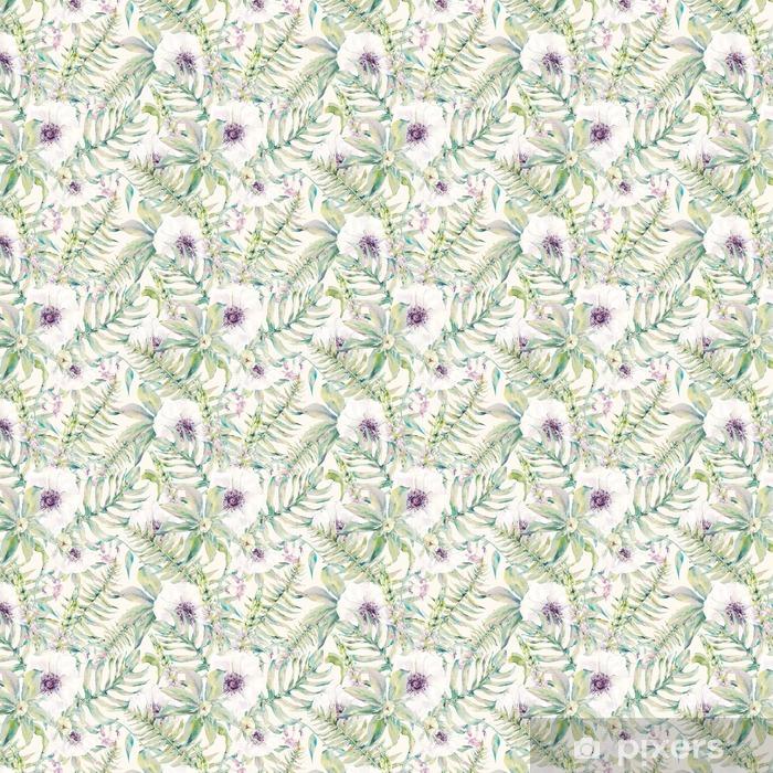 Akvarel blade sømløse mønster med bregner og blomster Personlige vinyltapet - Planter og Blomster