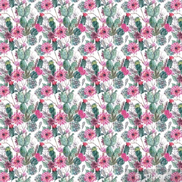 Carta da parati in vinile su misura Cactus acquerello seamless in stile boho. - Per negozio di abiti da sposa