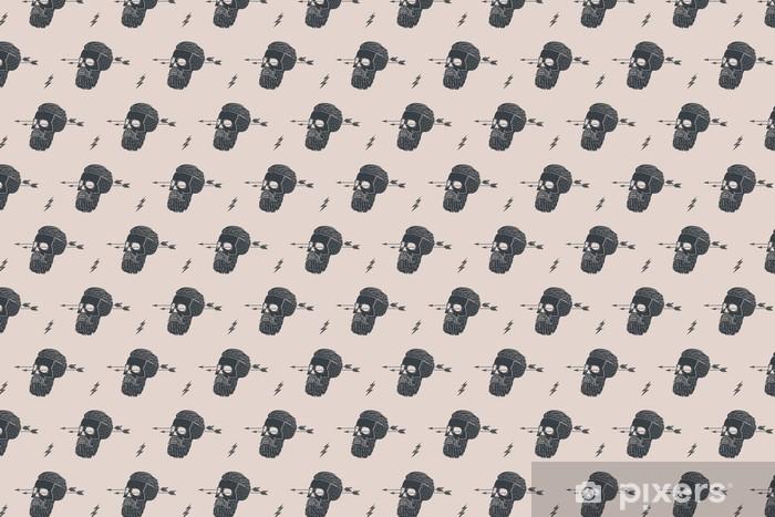 Tapeta na wymiar winylowa Jednolite tło wzór z rocznika czaszki hipster ze strzałką. Projekt graficzny do owijania papieru i tkaniny tekstury koszuli. Ilustracja wektorowa - Hobby i rozrywka
