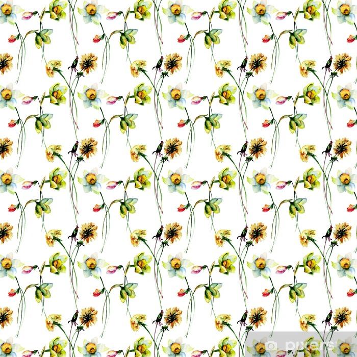 Carta da parati in vinile su misura Reticolo senza giunte con il narciso e Dandelion fiori - Piante & Fiori