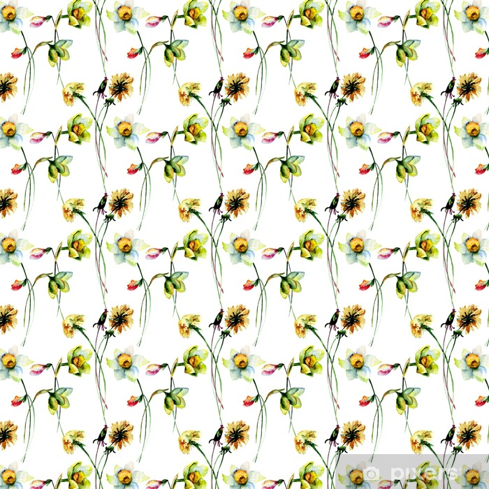 Seamless pattern with Narcissus and Dandelion flowers Vinyl Custom-made Wallpaper - Plants and Flowers