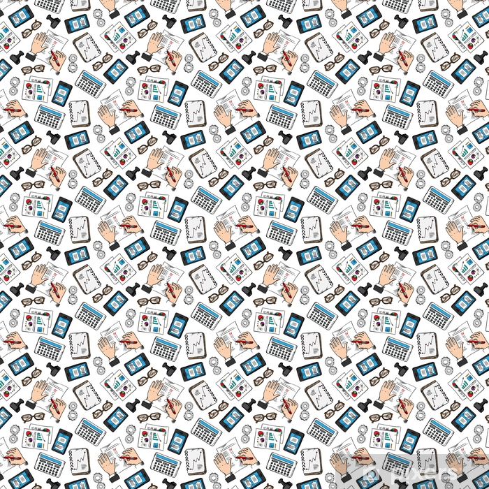 Business and office sketched seamless pattern Vinyl custom-made wallpaper - Business