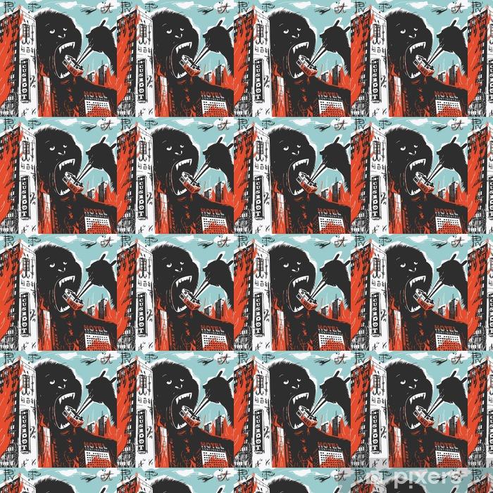 Papier peint vinyle sur mesure Big Gorilla détruit la ville - Animaux