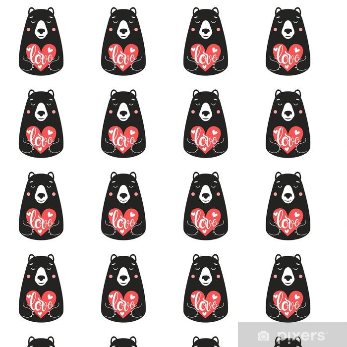Tapeta na wymiar winylowa Słodkie ilustracji wektorowych z niedźwiedziem trzyma różowe serce słowo Miłości - Zwierzęta