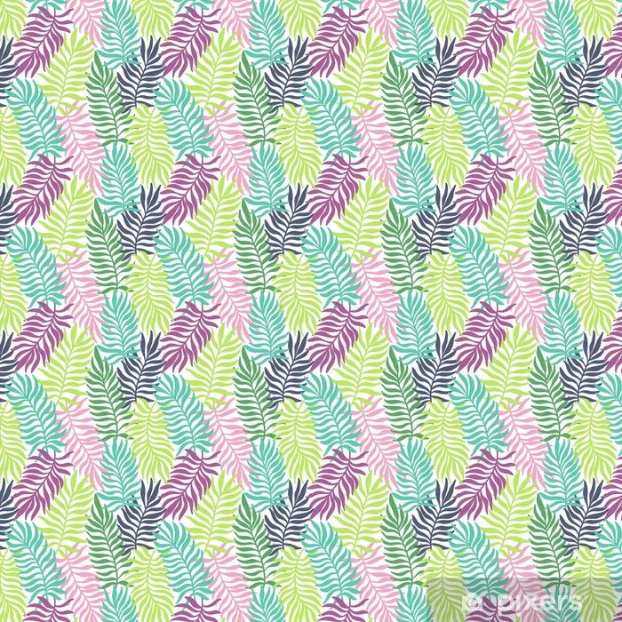 Vinyl behang, op maat gemaakt Naadloos exotische patroon met palmbladeren - Bloemen en Planten