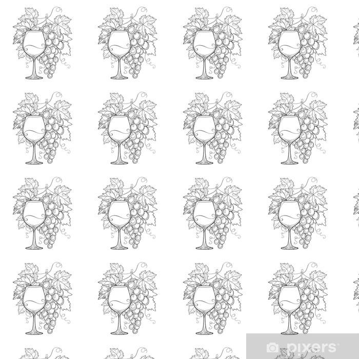 Papel Pintado Montón De Vectores De Uva Hojas De Parra Ornamentados Y Copa En Negro Aislado En Blanco Esquema De Elementos De Diseño Para El Vino