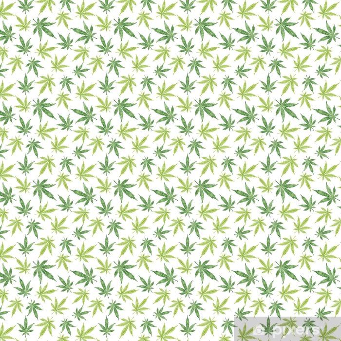 Tapeta na wymiar winylowa Akwarela marihuana pozostawia wzór. tło wektor konopi indyjskich. - Rośliny i kwiaty