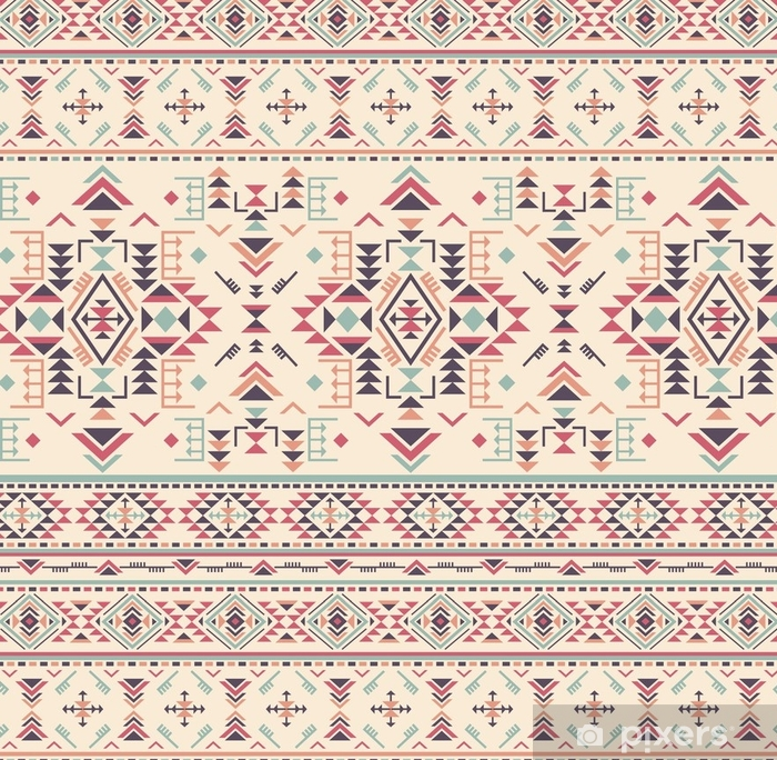 Colorful ethnic seamless pattern with geometric shapes. Vinyl Wallpaper - Graphic Resources