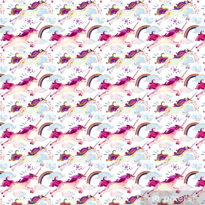 Carta da parati in vinile su misura Acquerello unicorno seamless - Animali