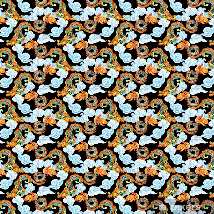 Zelfklevend behang, op maat gemaakt Chinese Draak naadloos patroon. Aziatische draakillustratie - Dieren