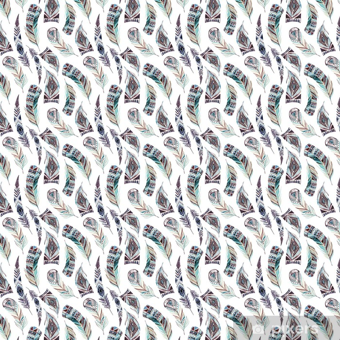 Carta da parati in vinile su misura Acquerello decorato piume tribali seamless pattern - Animali