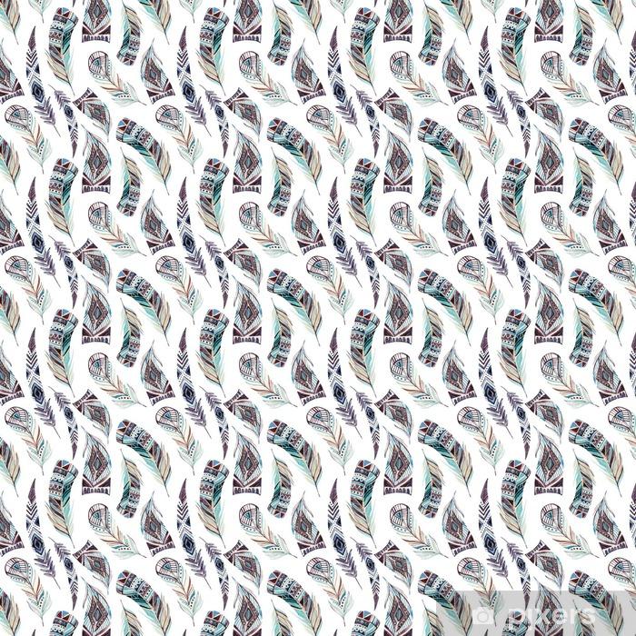 Zelfklevend behang, op maat gemaakt Aquarel ingericht tribal veren naadloos patroon - Dieren