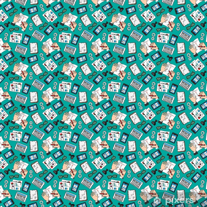 Seamless pattern of sketched business icons Vinyl custom-made wallpaper - Business
