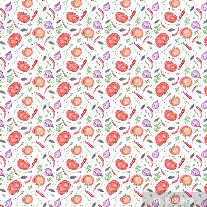 Tomato and Spices Fresh Watercolor Background Vinyl custom-made wallpaper - Food