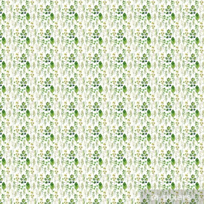 Akwarela łąka chwasty i zioła wzór
