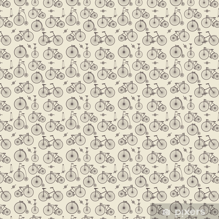 Seamless Backgrounds Bicycle Repeating Pattern In Vintage Retro Style Wallpaper Vinyl Custom Made