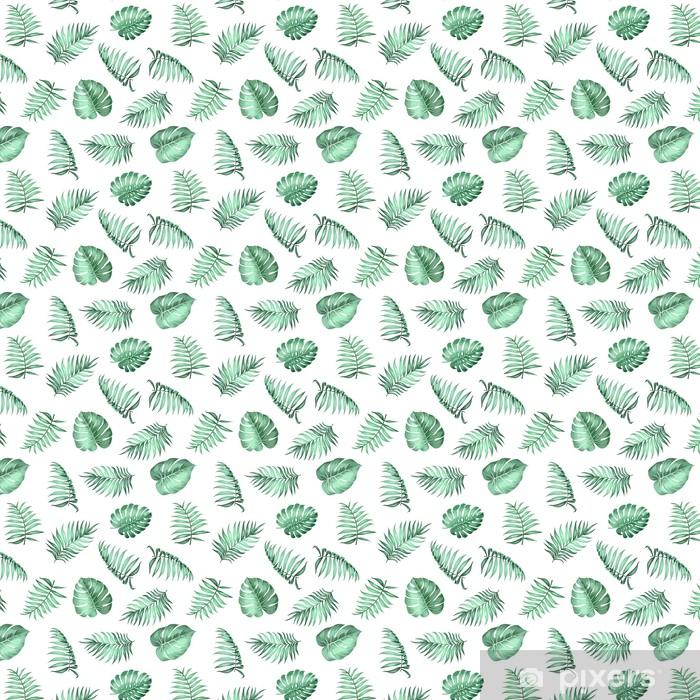 Tapeta na wymiar winylowa Miejscowe liści palmowych na bezproblemową wzór na fakturze tkaniny. ilustracji wektorowych. -