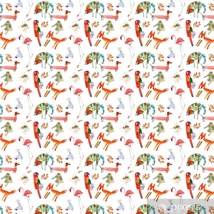 Papel pintado estándar a medida Animales de la acuarela fijaron - Animales
