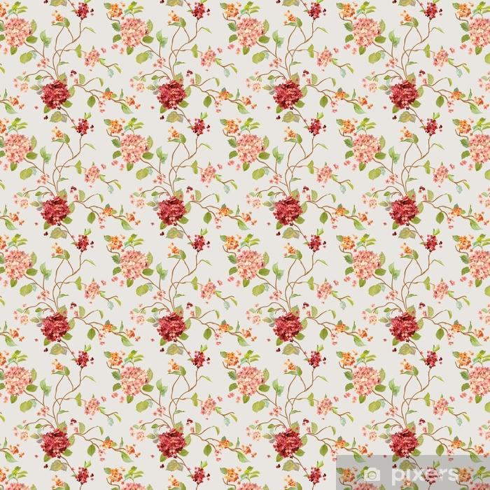 Vinyl behang, op maat gemaakt Uitstekende bloemen - bloemenhortensiaachtergrond - naadloos patroon - Bloemen en Planten