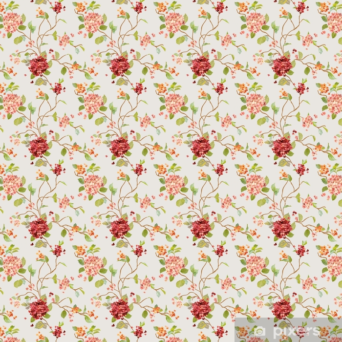 Vintage Flowers - Floral Hortensia Background - Seamless Pattern Vinyl custom-made wallpaper - Plants and Flowers