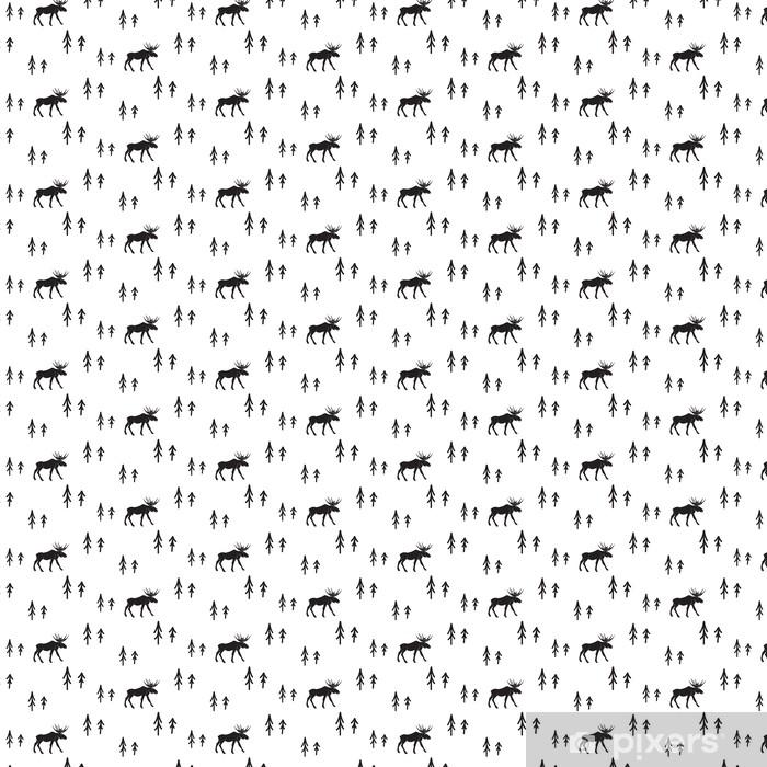 Vinyl behang, op maat gemaakt Scandinavische eenvoudige stijl zwart-wit herten naadloos patroon. Herten en dennen zwart-wit silhouet patroon. - Grafische Bronnen