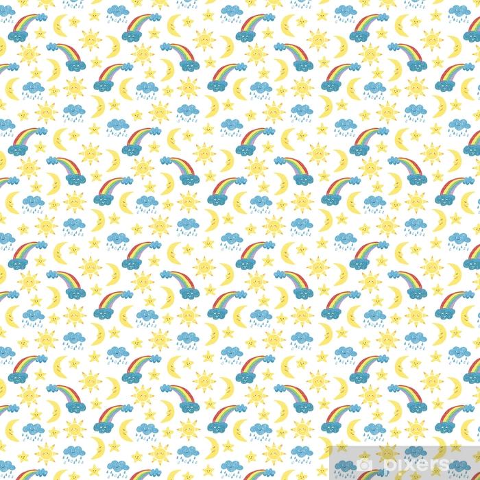 Papier peint vinyle sur mesure Modèle sans couture de dessins d'enfants. vecteur fond coloré avec doodle soleil, lune, nuages et arc-en-ciel. - Ressources graphiques