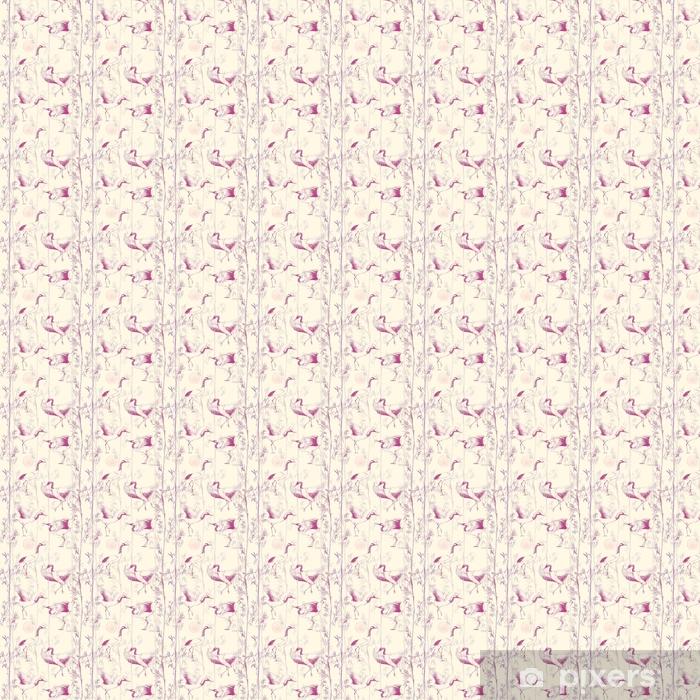 Zelfklevend behang, op maat gemaakt Handgetekende aquarel naadloze patroon met witte Japanse dansende kranen. herhaalde achtergrond met gevoelige vogels en bamboe - Dieren