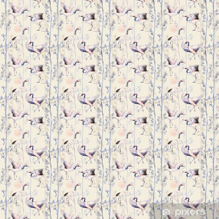 Vinyl behang, op maat gemaakt -Hand getekende aquarel naadloos patroon met witte Japanse dansen kranen. Herhaalde achtergrond met delicate vogels en bamboe - Dieren
