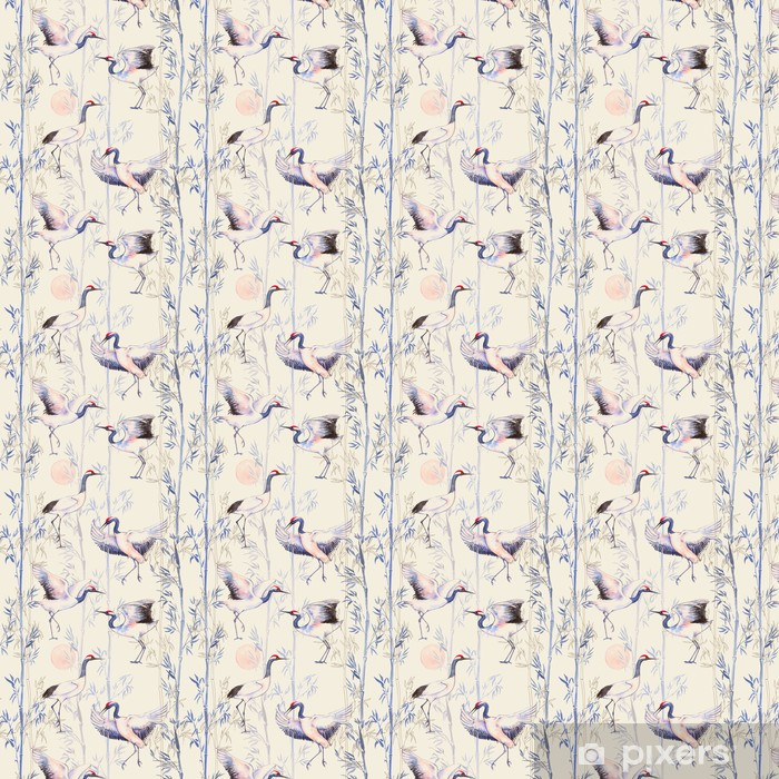 Hand-drawn watercolor seamless pattern with white Japanese dancing cranes. Repeated background with delicate birds and bamboo Vinyl Custom-made Wallpaper - Animals