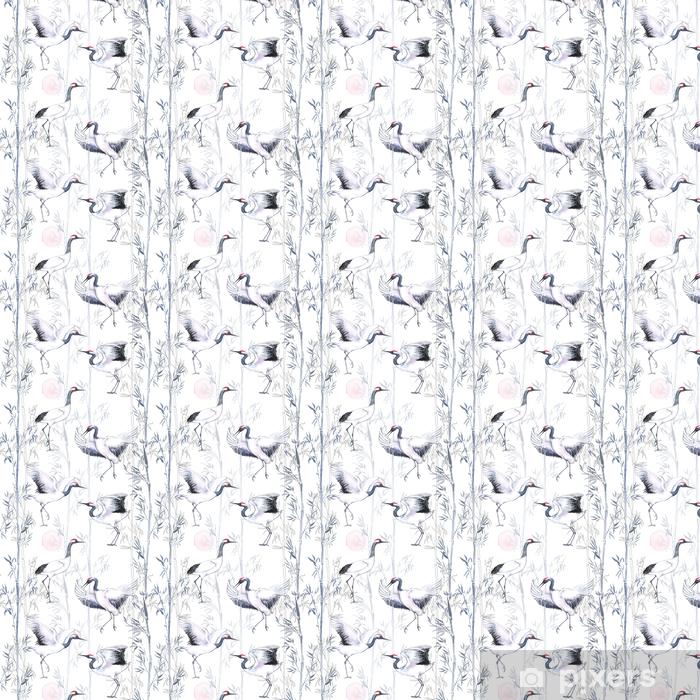 Tapeta na wymiar winylowa Ręcznie rysowane akwarela bezszwowe wzór z białego japońskiego taniec żurawie. powtarzające się tło z delikatnymi ptakami i bambusem - Zwierzęta